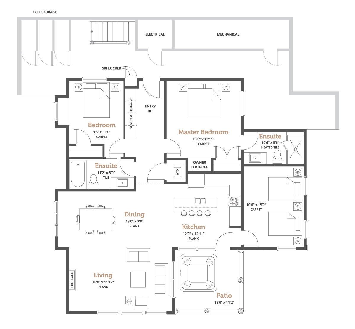 Spyglass at Big White 3 Plex floorplan outline