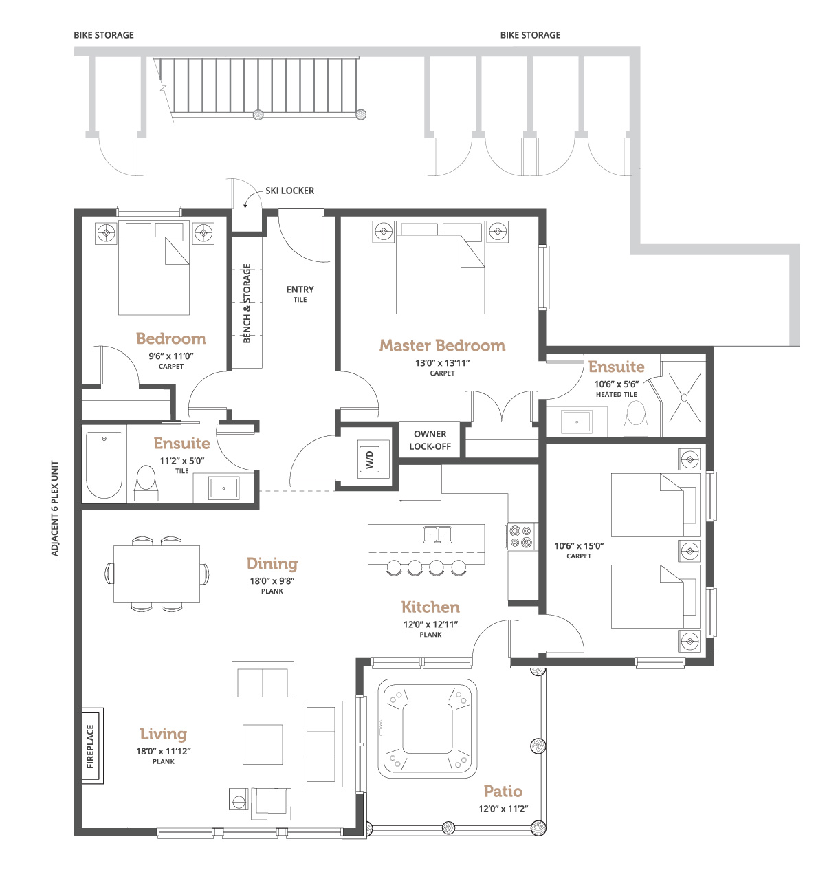 Spyglass at Big White 6 Plex floorplan outline