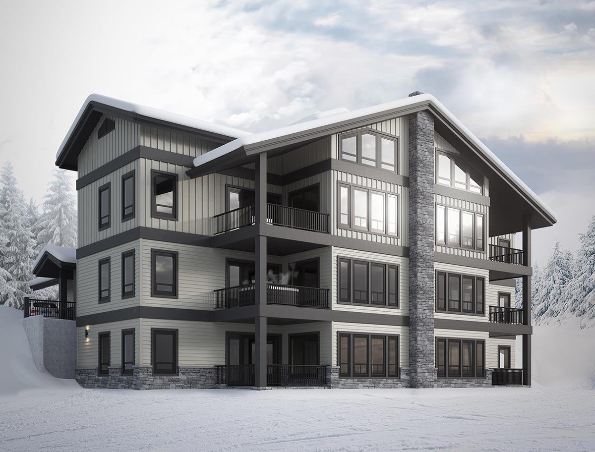 Spyglass at Big White Ski Resort Building Render and Floor Plans.